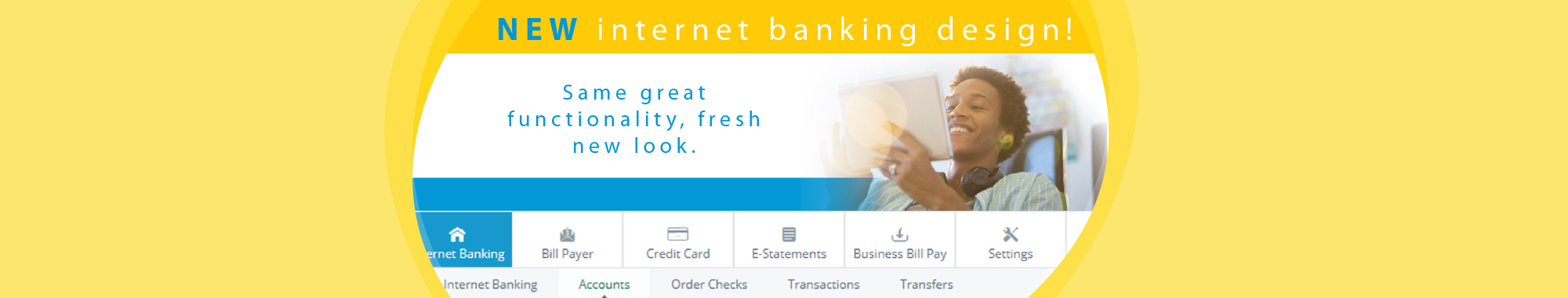 NEW internet banking design! Scroll for details.