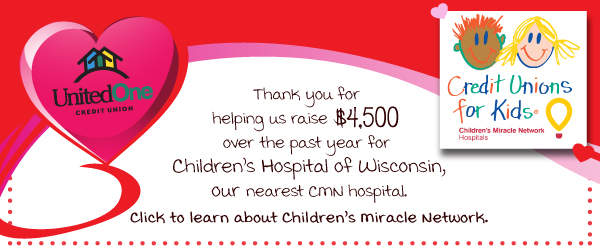 Thank you for helping us raise $4,500 over the past year for Children's Hospital of Wisconsin, our nearest CMN hospital. Click to learn about Children's Miracle Network.