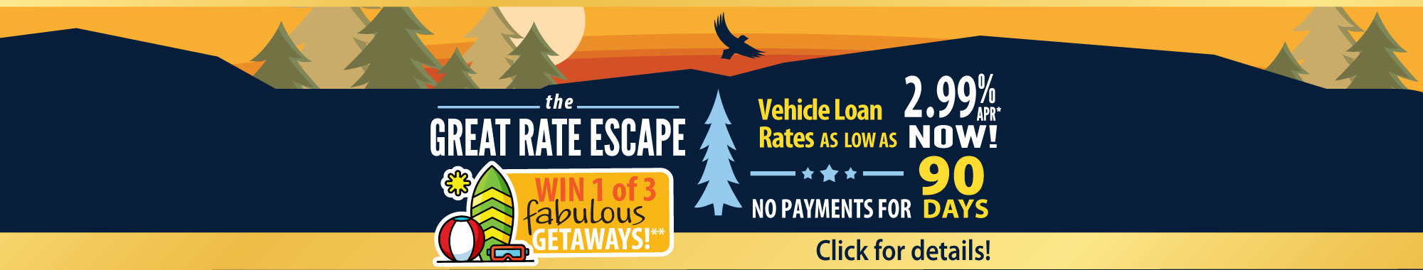 Make a break for our Great Rate Escape vehicle loan sale!