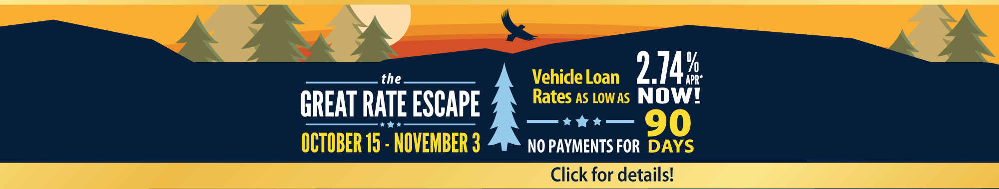 UnitedOne Great Rate Escape Vehicle Loan Sale - Click here!